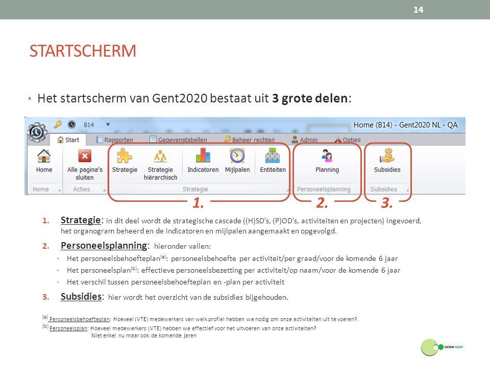 STARTSCHERM Het startscherm van Gent2020 bestaat uit 3 grote delen: 1.
