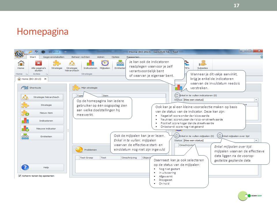 Homepagina 17 Op de homepagina kan iedere gebruiker op één oogopslag zien aan welke doelstellingen hij meewerkt.
