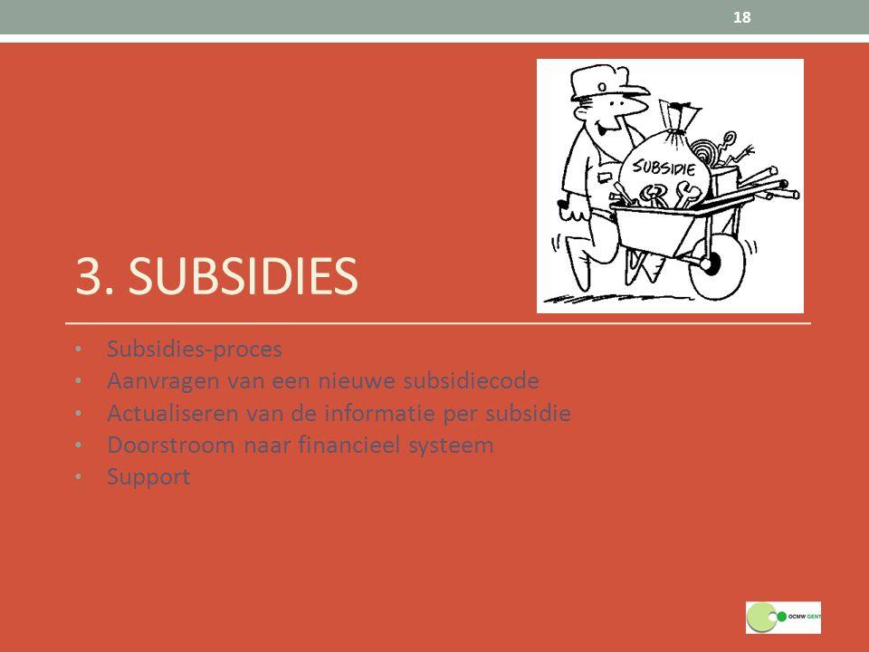 3. SUBSIDIES Subsidies-proces Aanvragen van een nieuwe subsidiecode Actualiseren van de informatie per subsidie Doorstroom naar financieel systeem Sup