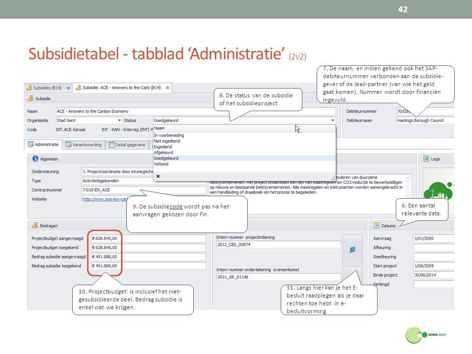Subsidietabel - tabblad 'Administratie' (2v2) 42 6.