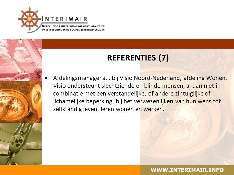 WWW.INTERIMAIR.INFO REFERENTIES (7) Afdelingsmanager a.i.