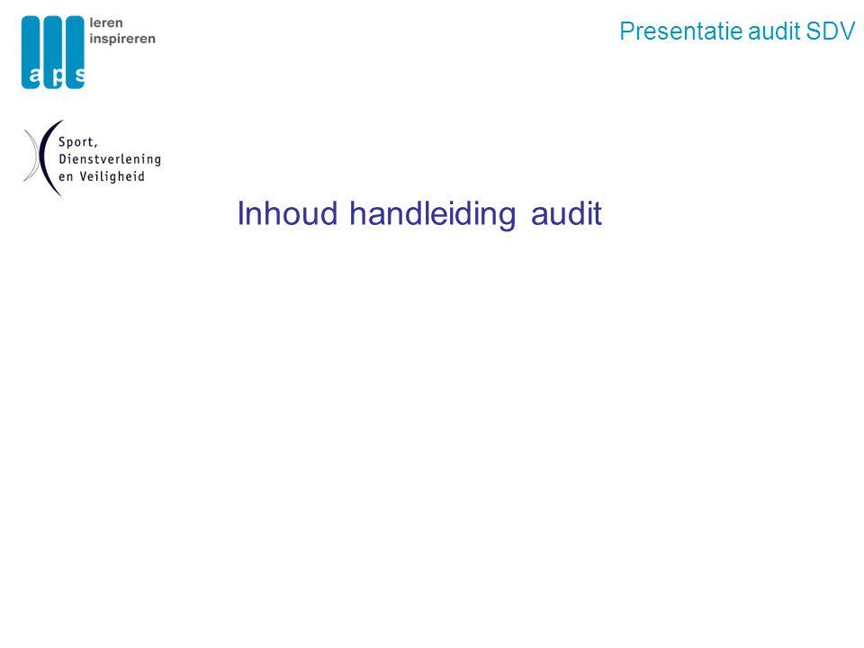 Presentatie audit SDV Inhoud handleiding audit