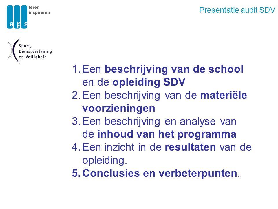 Presentatie audit SDV 1.Een beschrijving van de school en de opleiding SDV 2.Een beschrijving van de materiële voorzieningen 3.Een beschrijving en analyse van de inhoud van het programma 4.Een inzicht in de resultaten van de opleiding.