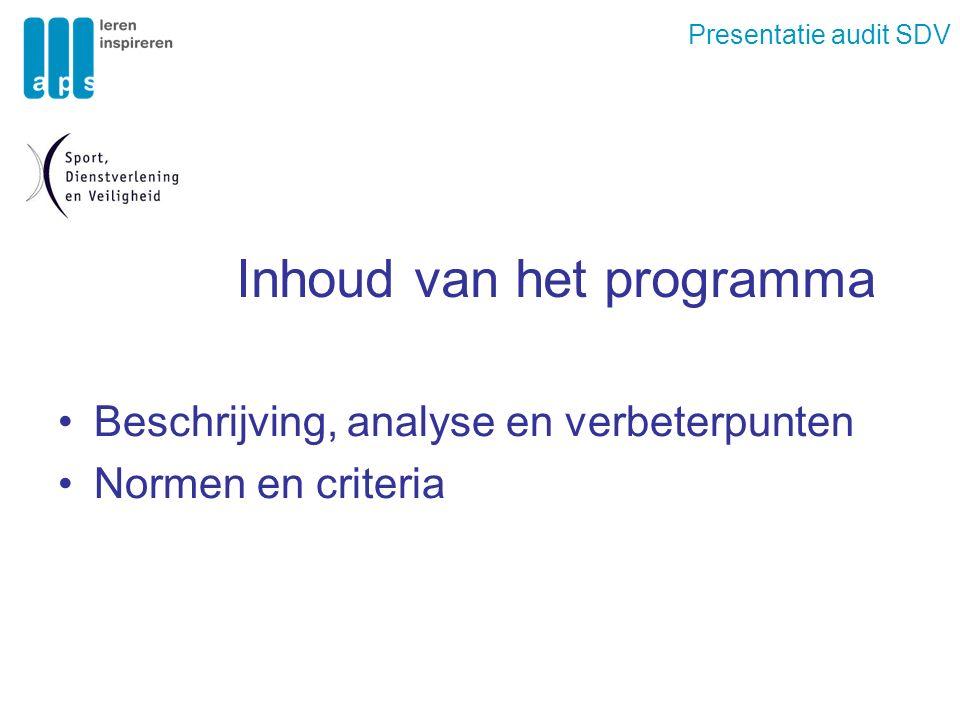 Presentatie audit SDV Inhoud van het programma Beschrijving, analyse en verbeterpunten Normen en criteria