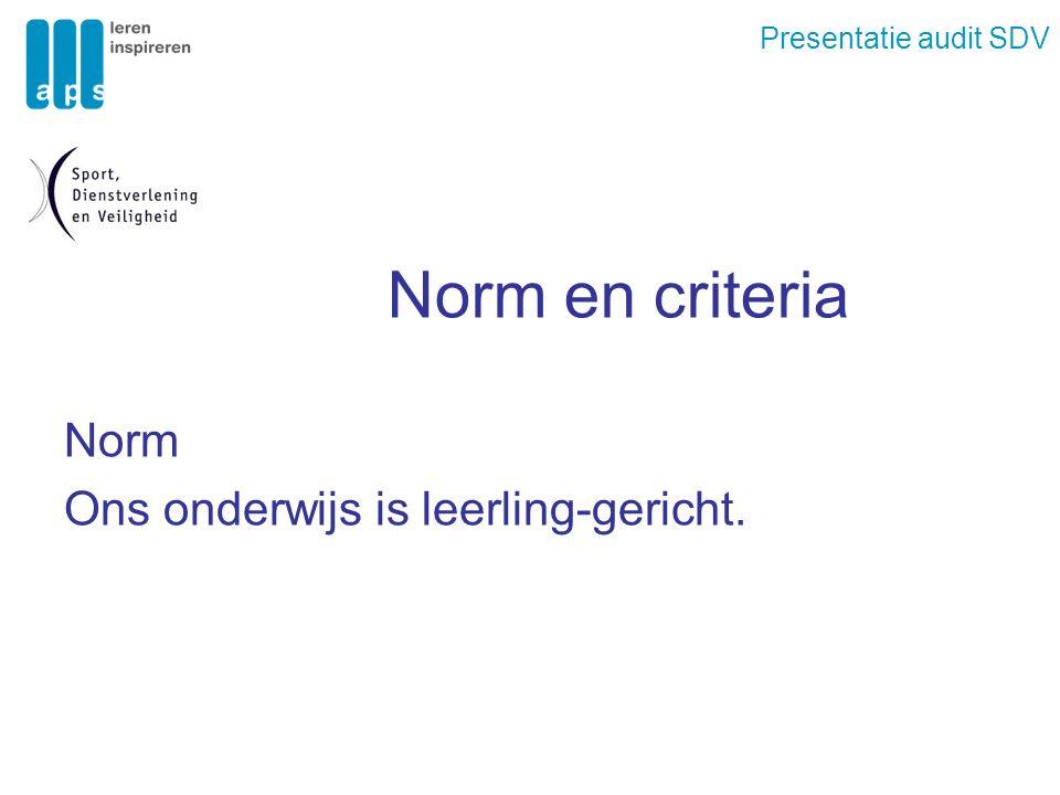 Presentatie audit SDV Norm en criteria Norm Ons onderwijs is leerling-gericht.