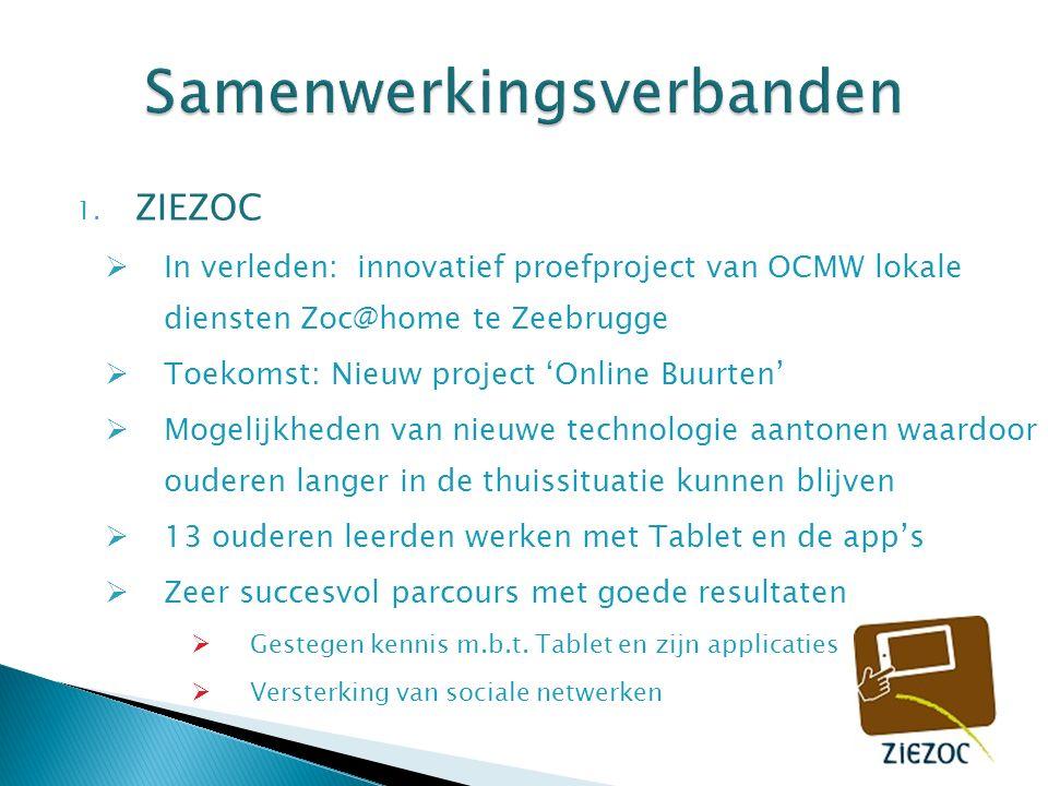 1. ZIEZOC  In verleden: innovatief proefproject van OCMW lokale diensten Zoc@home te Zeebrugge  Toekomst: Nieuw project 'Online Buurten'  Mogelijkh