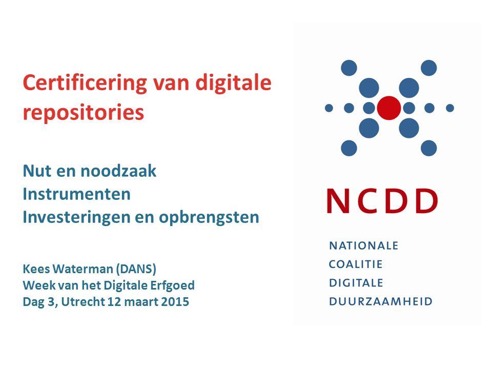 Opzet NCDD-project & NDE-werkpakket waarom certificeren.