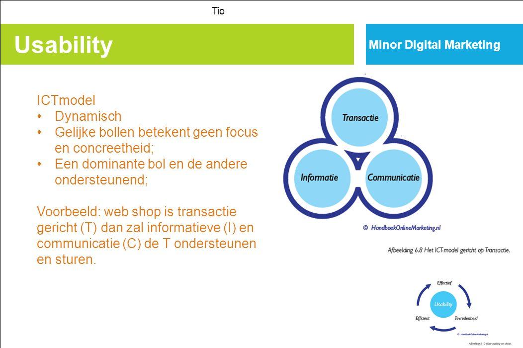 Usability Tio Minor Digital Marketing ICTmodel Dynamisch Gelijke bollen betekent geen focus en concreetheid; Een dominante bol en de andere ondersteunend; Voorbeeld: web shop is transactie gericht (T) dan zal informatieve (I) en communicatie (C) de T ondersteunen en sturen.