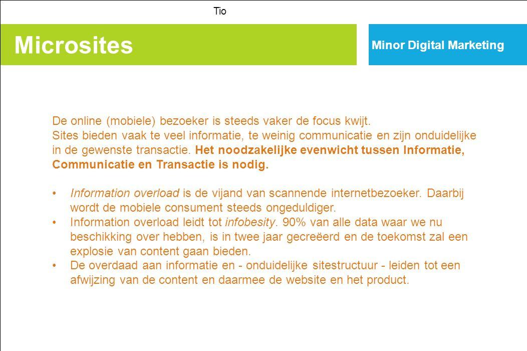 Microsites Tio Minor Digital Marketing De online (mobiele) bezoeker is steeds vaker de focus kwijt.