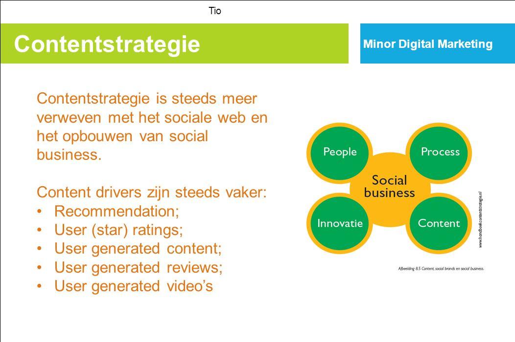 Contentstrategie Tio Minor Digital Marketing Contentstrategie is steeds meer verweven met het sociale web en het opbouwen van social business.