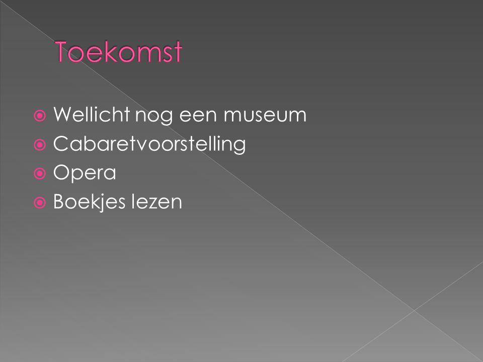  Wellicht nog een museum  Cabaretvoorstelling  Opera  Boekjes lezen