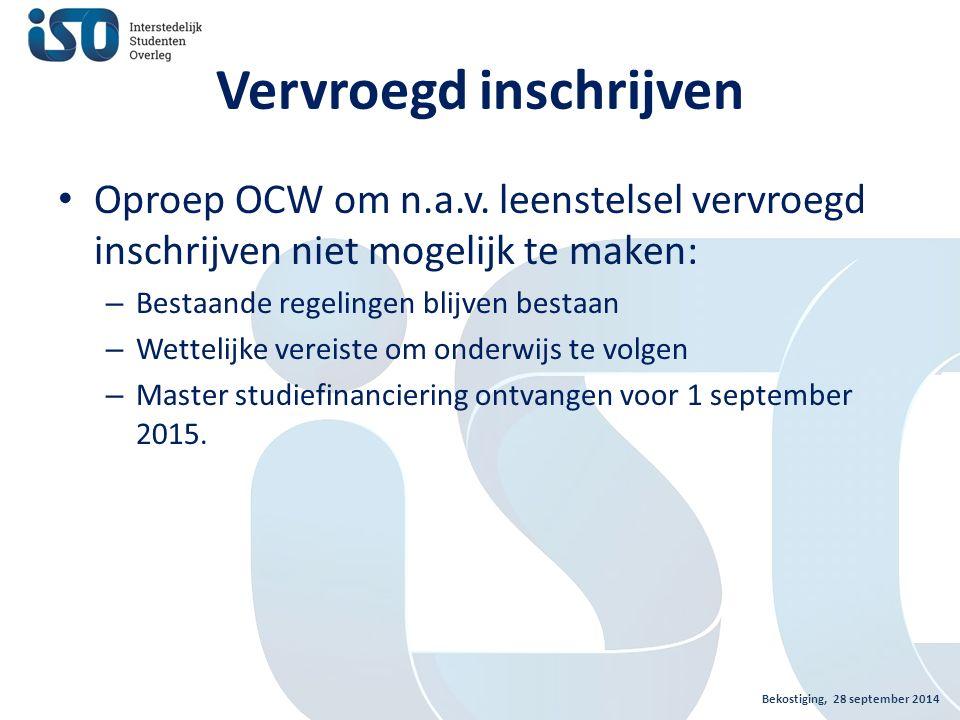Vervroegd inschrijven Oproep OCW om n.a.v.
