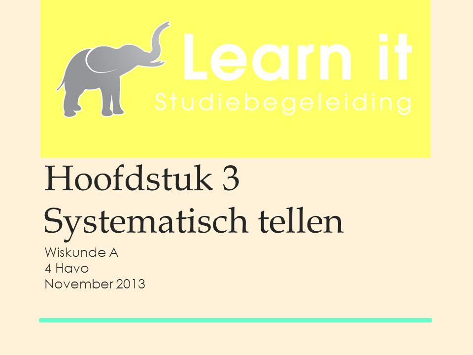 Hoofdstuk 3 Systematisch tellen Wiskunde A 4 Havo November 2013