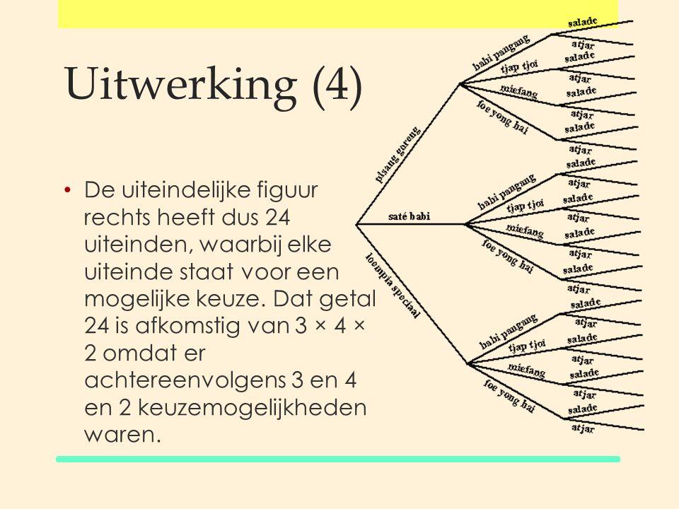Het aantal takken van een boomdiagram bereken je door de aantallen afzonderlijke keuzes met elkaar te vermenigvuldigen.