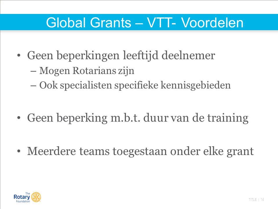 TITLE | 14 Global Grants – VTT- Voordelen Geen beperkingen leeftijd deelnemer – Mogen Rotarians zijn – Ook specialisten specifieke kennisgebieden Geen beperking m.b.t.