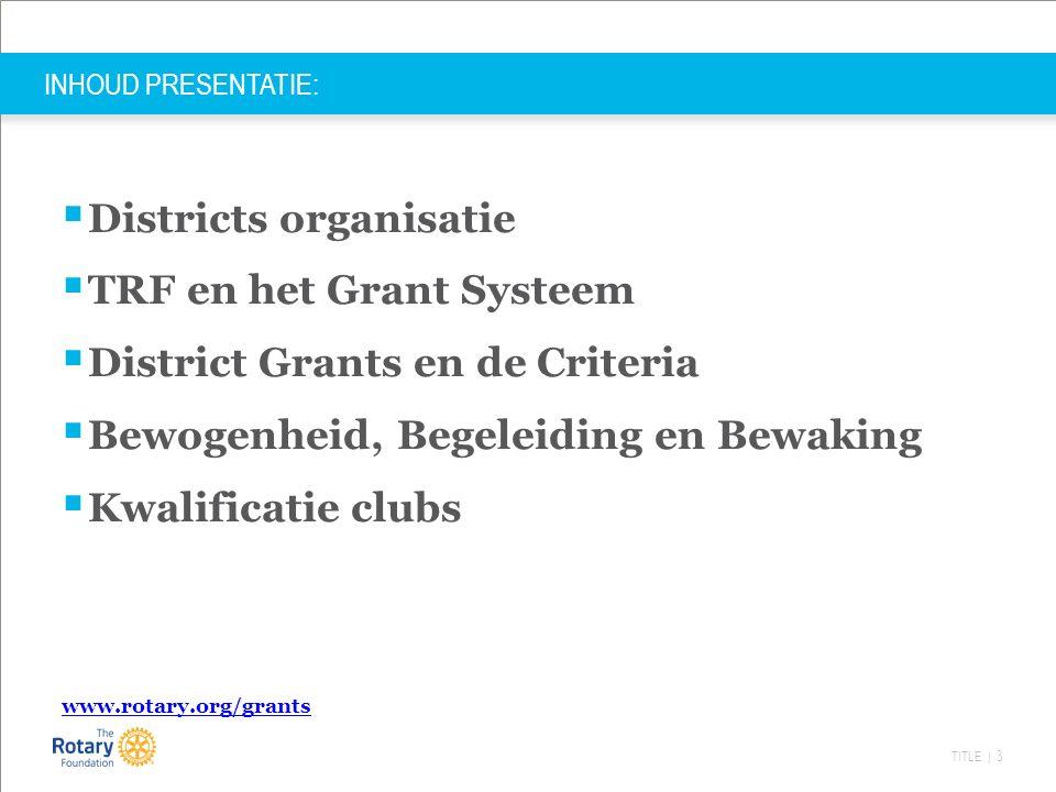 TITLE | 24 District Grants D1560 criteria -Kleinschalig project < €10.000,- (50 % eigen clubbijdrage) -Goed te realiseren.
