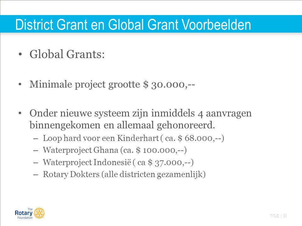 TITLE | 30 District Grant en Global Grant Voorbeelden Global Grants: Minimale project grootte $ 30.000,-- Onder nieuwe systeem zijn inmiddels 4 aanvragen binnengekomen en allemaal gehonoreerd.