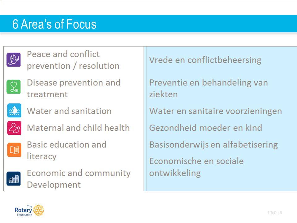 TITLE | 10 Hoe stimuleert Rotary deze areas of focus: Global GrantsVoor projecten binnen de areas of focus, incl.