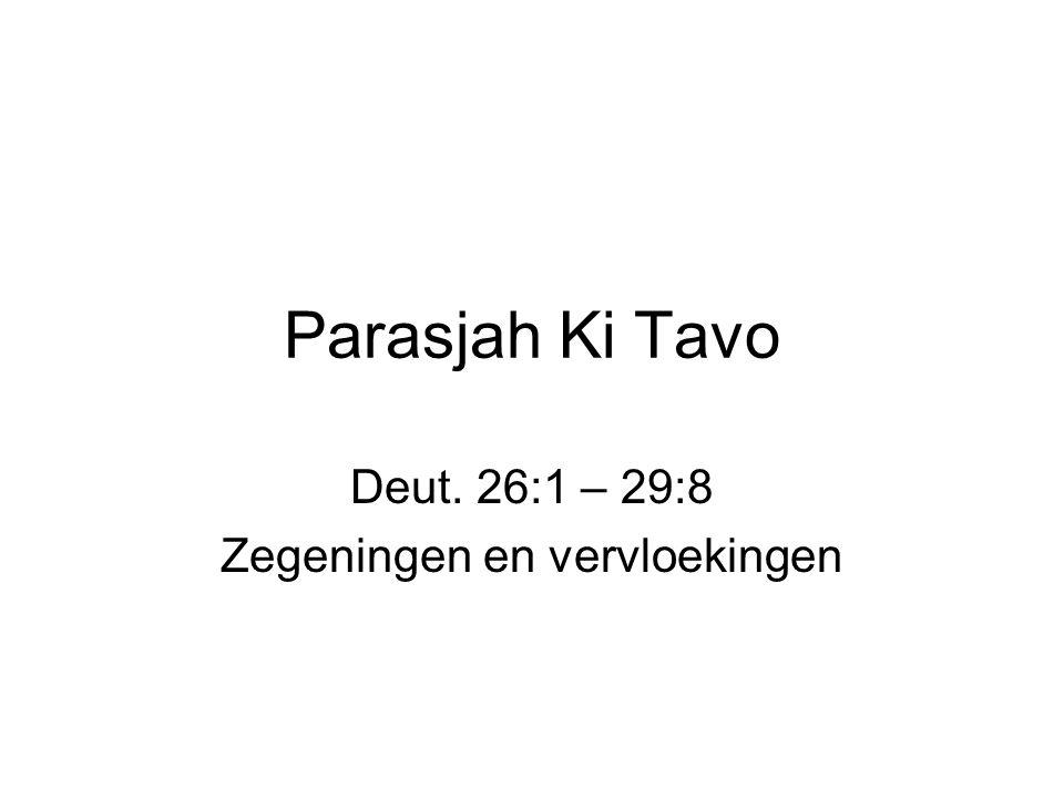 Parasjah Ki Tavo Deut. 26:1 – 29:8 Zegeningen en vervloekingen