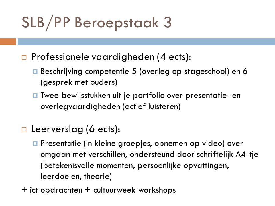 SLB/PP Beroepstaak 3  Professionele vaardigheden (4 ects):  Beschrijving competentie 5 (overleg op stageschool) en 6 (gesprek met ouders)  Twee bew