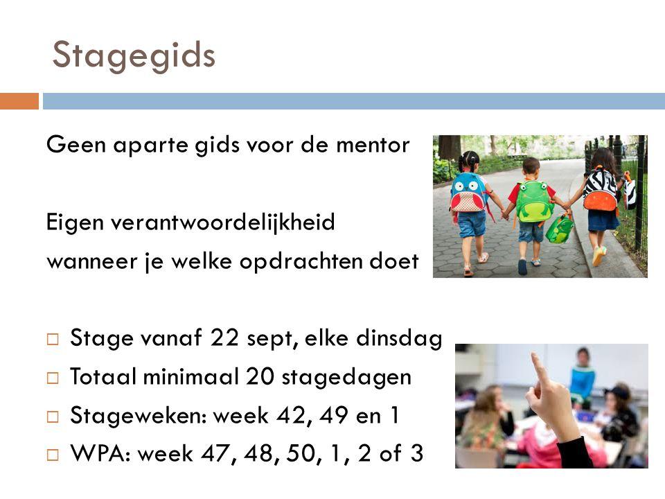 Stagegids Geen aparte gids voor de mentor Eigen verantwoordelijkheid wanneer je welke opdrachten doet  Stage vanaf 22 sept, elke dinsdag  Totaal min