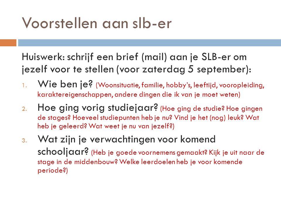 Voorstellen aan slb-er Huiswerk: schrijf een brief (mail) aan je SLB-er om jezelf voor te stellen (voor zaterdag 5 september): 1. Wie ben je? (Woonsit