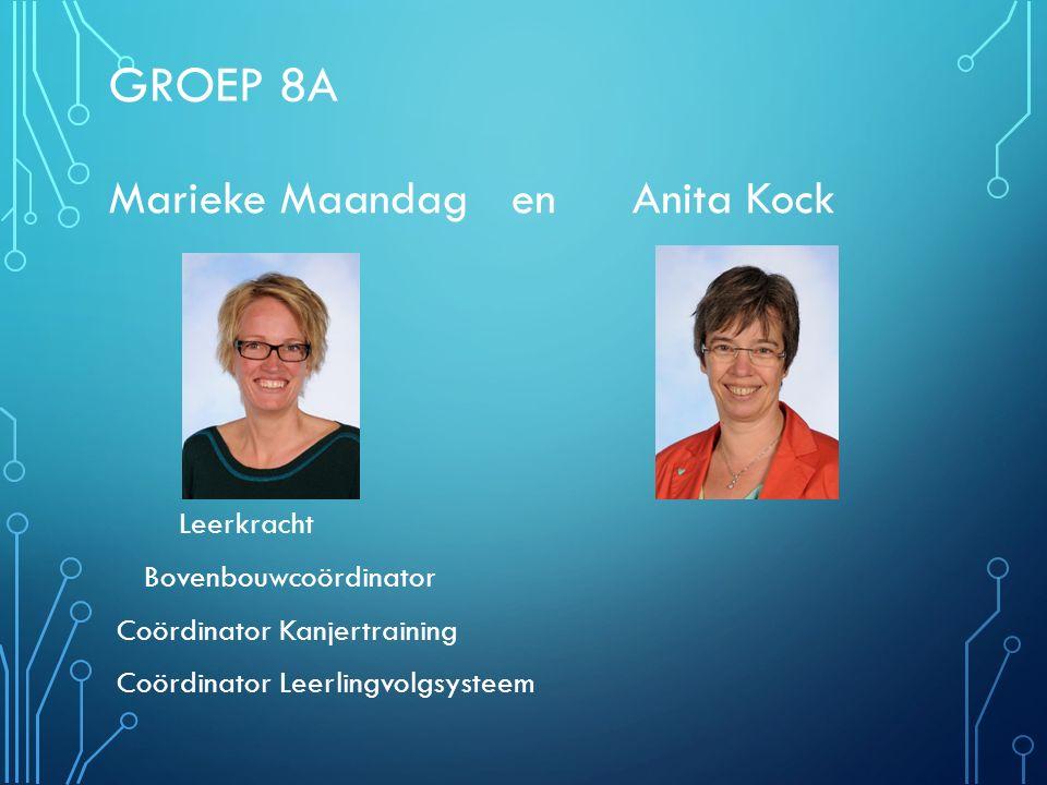 GROEP 8A Marieke Maandag en Anita Kock Leerkracht Bovenbouwcoördinator Coördinator Kanjertraining Coördinator Leerlingvolgsysteem