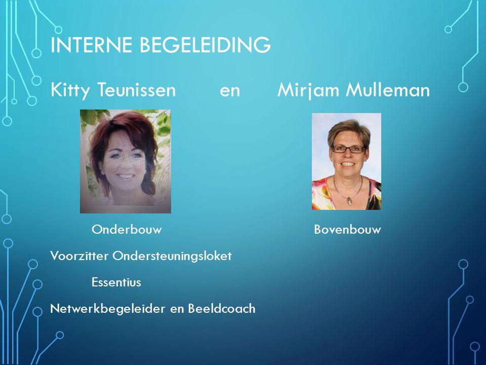 INTERNE BEGELEIDING Kitty Teunissen en Mirjam Mulleman Onderbouw Bovenbouw Voorzitter Ondersteuningsloket Essentius Netwerkbegeleider en Beeldcoach