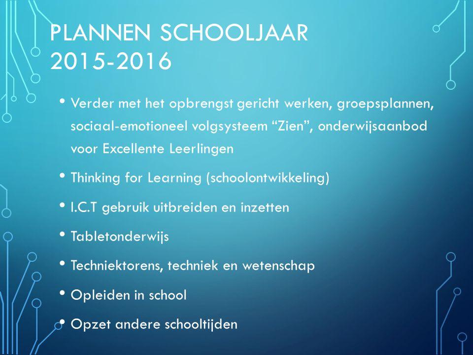 """PLANNEN SCHOOLJAAR 2015-2016 Verder met het opbrengst gericht werken, groepsplannen, sociaal-emotioneel volgsysteem """"Zien"""", onderwijsaanbod voor Excel"""