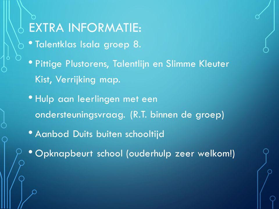 EXTRA INFORMATIE: Talentklas Isala groep 8. Pittige Plustorens, Talentlijn en Slimme Kleuter Kist, Verrijking map. Hulp aan leerlingen met een onderst