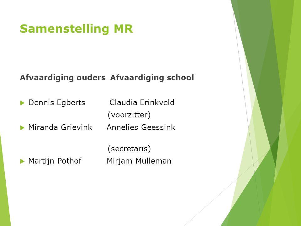 Samenstelling MR Afvaardiging oudersAfvaardiging school  Dennis Egberts Claudia Erinkveld (voorzitter)  Miranda Grievink Annelies Geessink (secretar