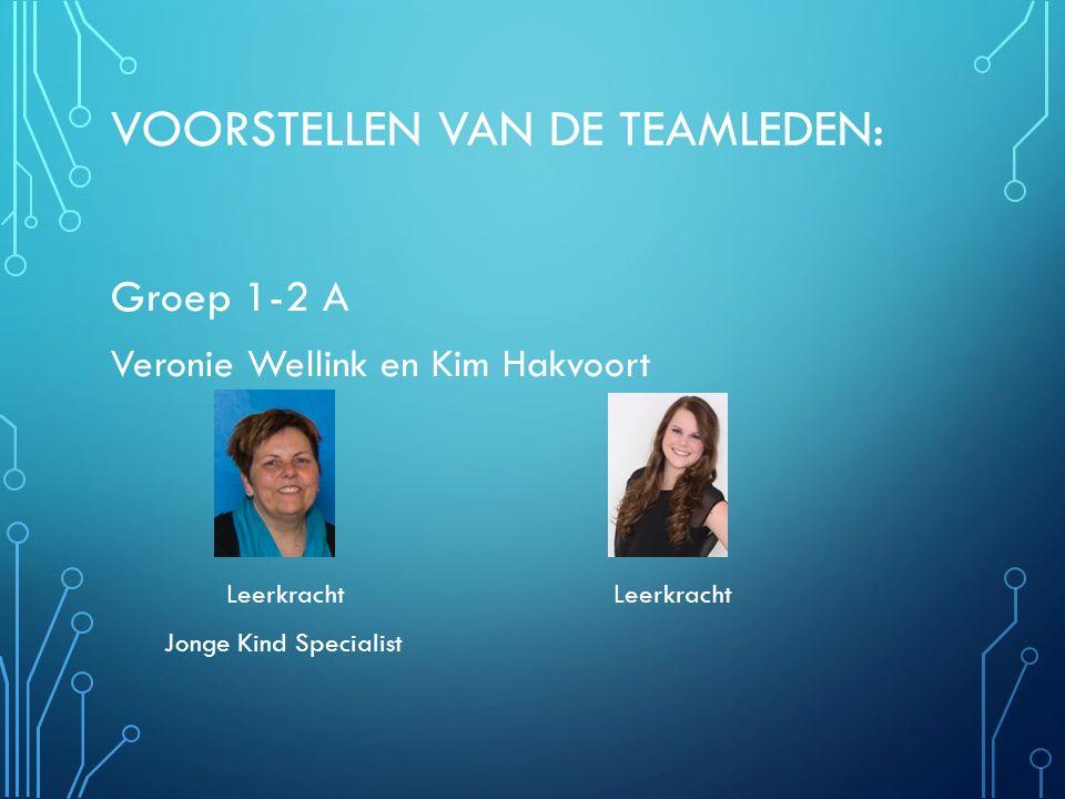 VOORSTELLEN VAN DE TEAMLEDEN: Groep 1-2 A Veronie Wellink en Kim Hakvoort Leerkracht Leerkracht Jonge Kind Specialist