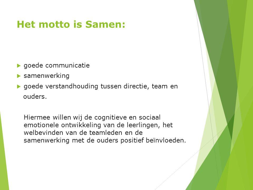 Het motto is Samen:  goede communicatie  samenwerking  goede verstandhouding tussen directie, team en ouders. Hiermee willen wij de cognitieve en s