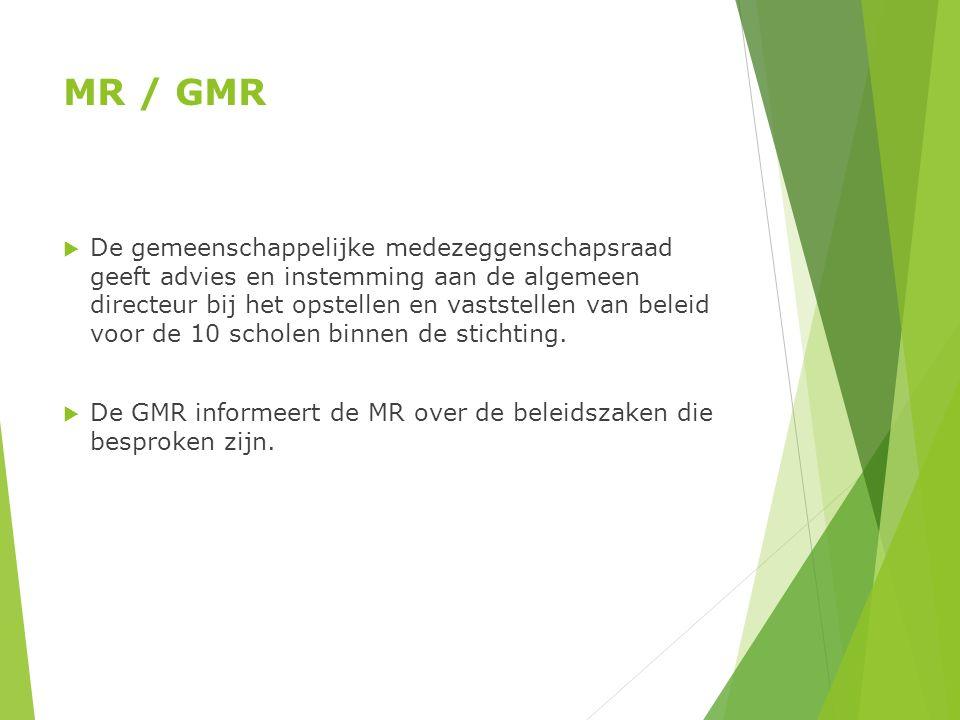 MR / GMR  De gemeenschappelijke medezeggenschapsraad geeft advies en instemming aan de algemeen directeur bij het opstellen en vaststellen van beleid