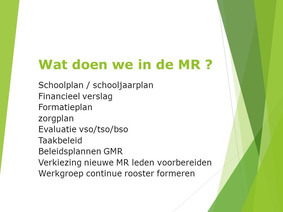 Wat doen we in de MR ? Schoolplan / schooljaarplan Financieel verslag Formatieplan zorgplan Evaluatie vso/tso/bso Taakbeleid Beleidsplannen GMR Verkie