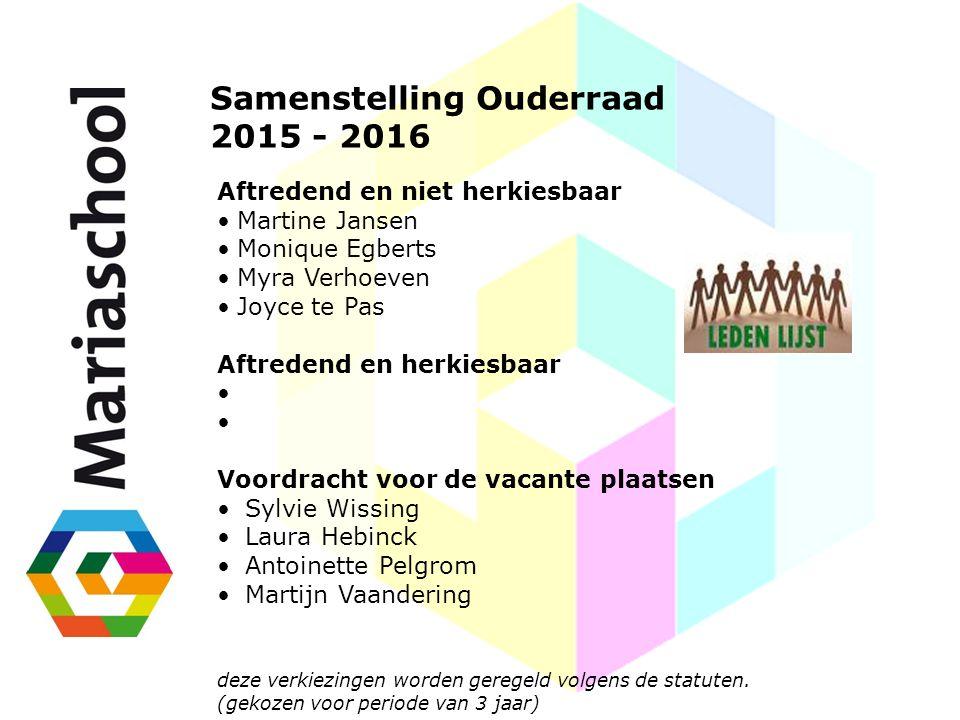 Samenstelling Ouderraad 2015 - 2016 Aftredend en niet herkiesbaar Martine Jansen Monique Egberts Myra Verhoeven Joyce te Pas Aftredend en herkiesbaar