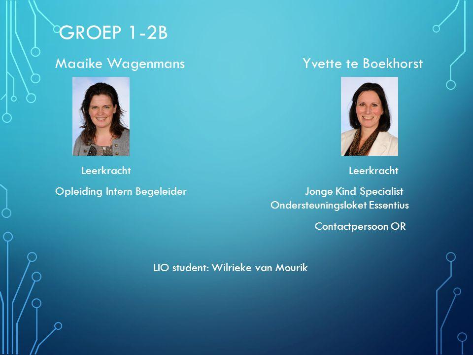 GROEP 1-2B Maaike Wagenmans Yvette te Boekhorst Leerkracht Leerkracht Opleiding Intern Begeleider Jonge Kind Specialist Ondersteuningsloket Essentius