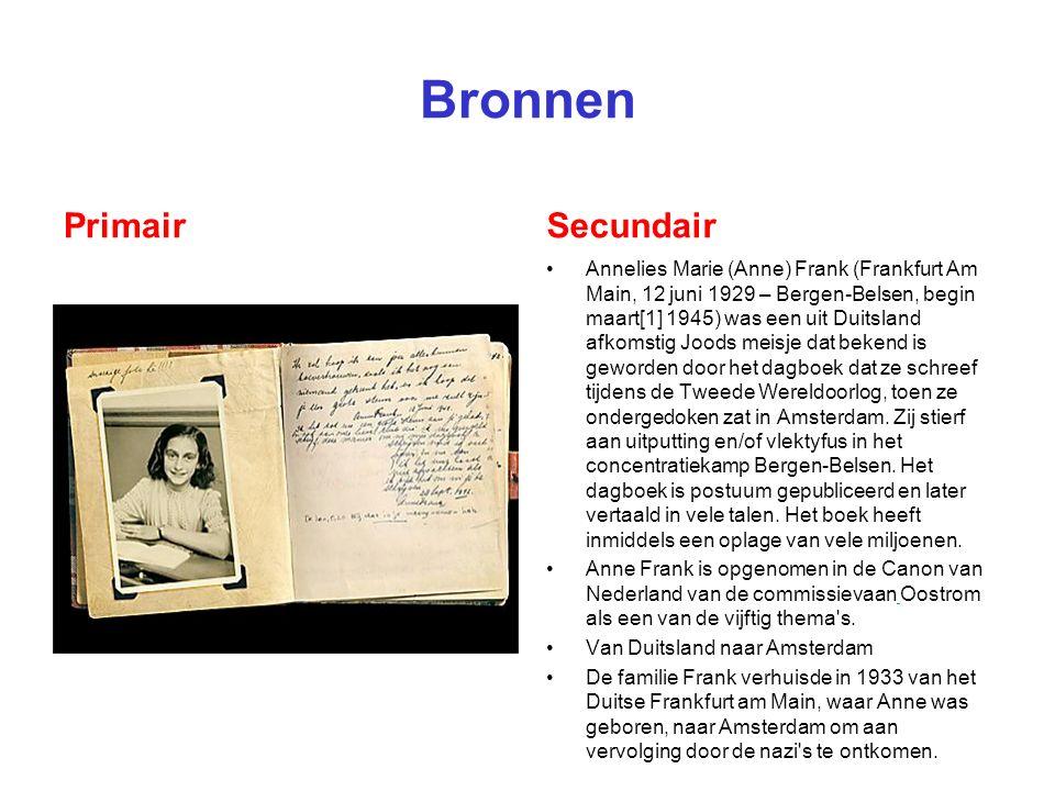 Bronnen PrimairSecundair Annelies Marie (Anne) Frank (Frankfurt Am Main, 12 juni 1929 – Bergen-Belsen, begin maart[1] 1945) was een uit Duitsland afko