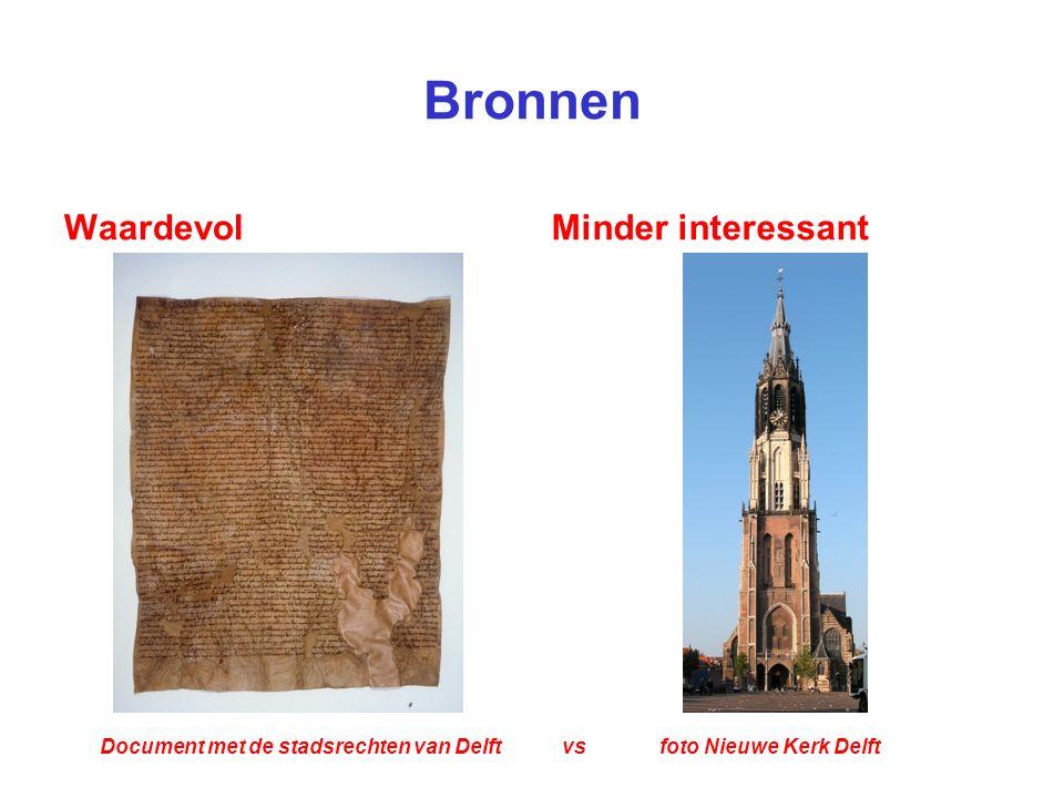 Bronnen WaardevolMinder interessant Document met de stadsrechten van Delft vs foto Nieuwe Kerk Delft