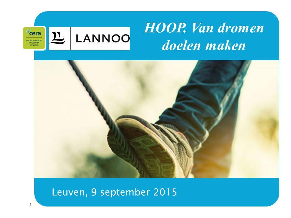 1 HOOP. Van dromen doelen maken Leuven, 9 september 2015 HOOP. Van dromen doelen maken