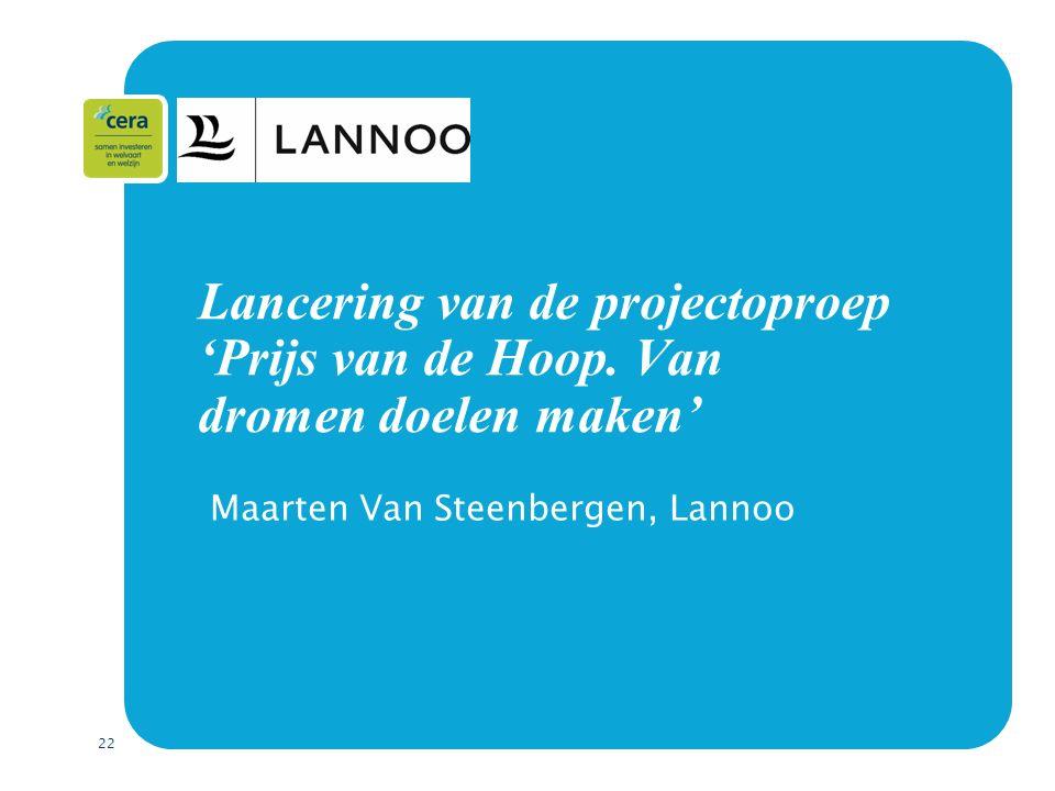 22 Lancering van de projectoproep 'Prijs van de Hoop.