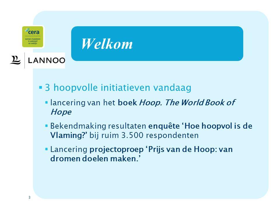 3 Welkom  3 hoopvolle initiatieven vandaag  lancering van het boek Hoop.