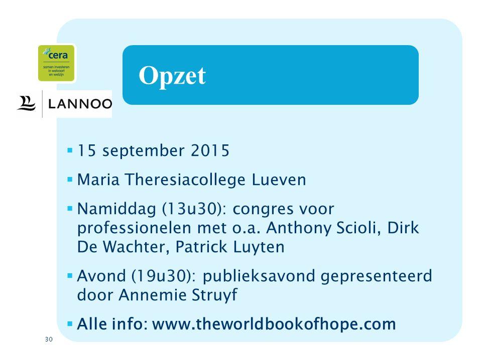 30 Opzet  15 september 2015  Maria Theresiacollege Lueven  Namiddag (13u30): congres voor professionelen met o.a.