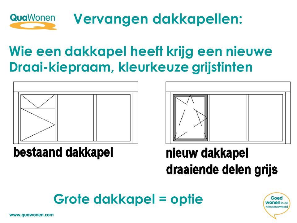 Vervangen dakkapellen: Wie een dakkapel heeft krijg een nieuwe Draai-kiepraam, kleurkeuze grijstinten Grote dakkapel = optie