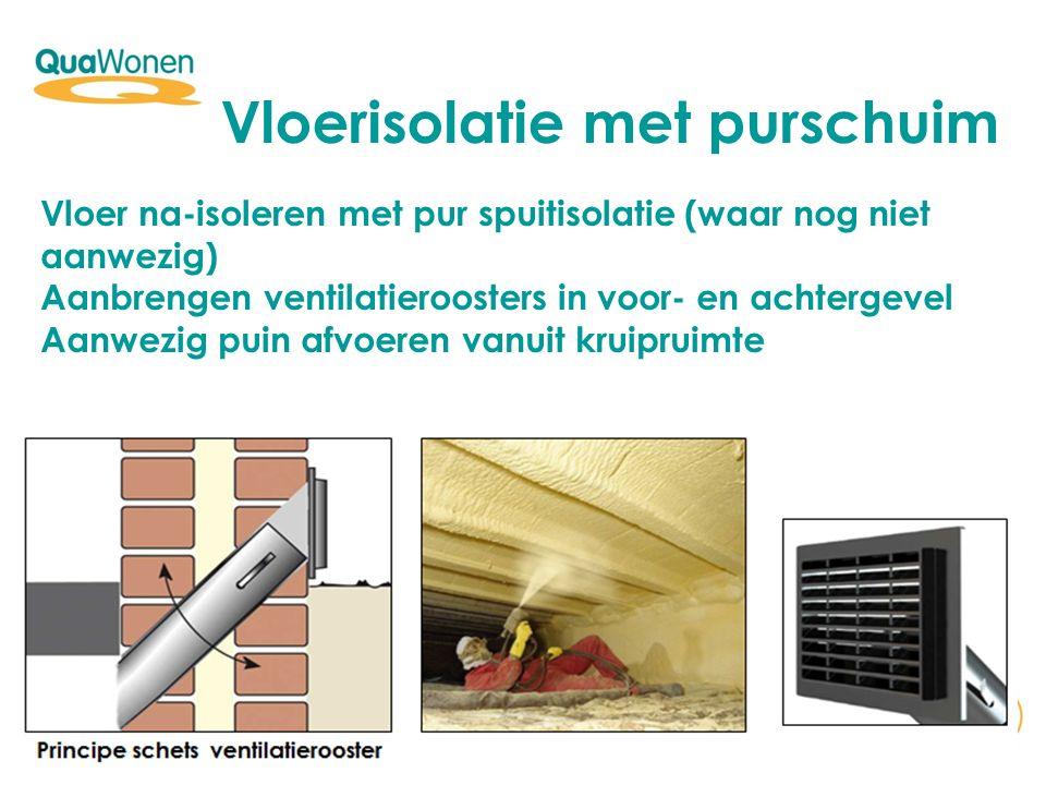 Vloerisolatie met purschuim Vloer na-isoleren met pur spuitisolatie (waar nog niet aanwezig) Aanbrengen ventilatieroosters in voor- en achtergevel Aan