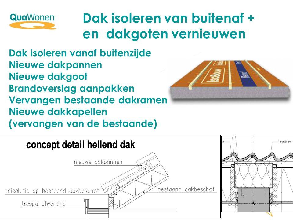 Dak isoleren van buitenaf + en dakgoten vernieuwen Dak isoleren vanaf buitenzijde Nieuwe dakpannen Nieuwe dakgoot Brandoverslag aanpakken Vervangen be
