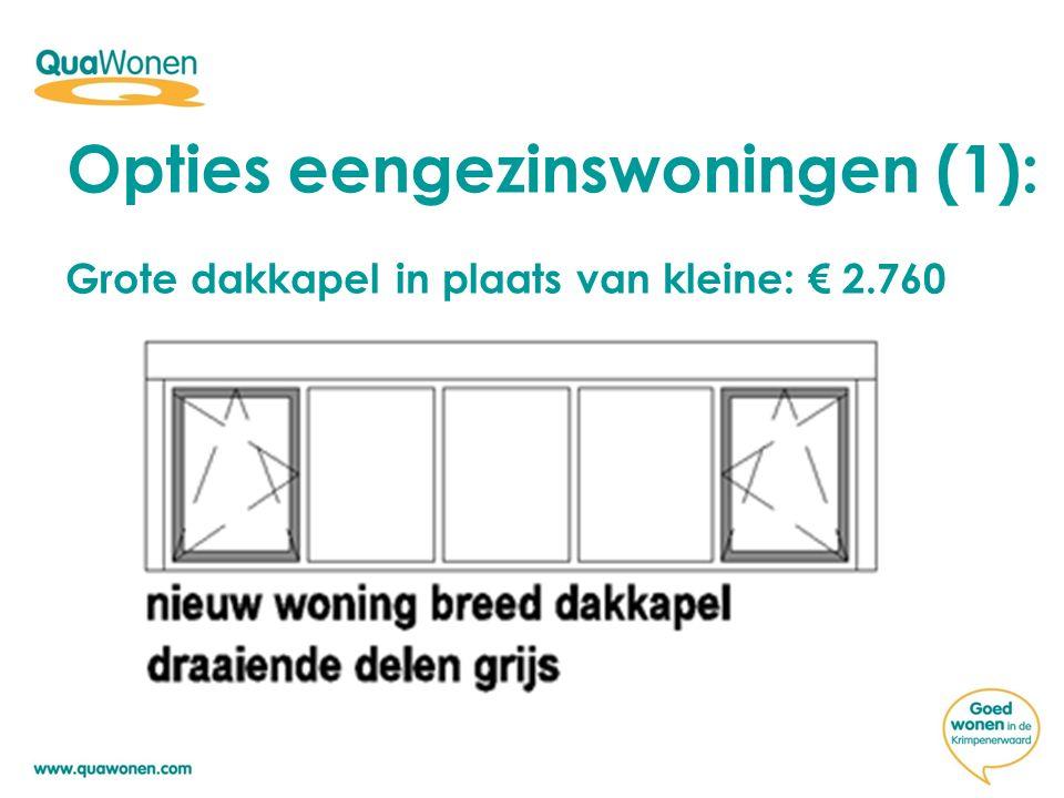 Opties eengezinswoningen (1): Grote dakkapel in plaats van kleine: € 2.760