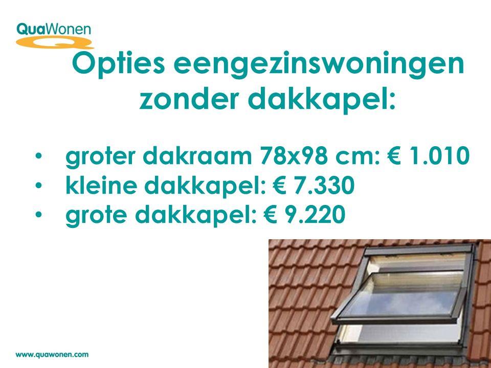 Opties eengezinswoningen zonder dakkapel: groter dakraam 78x98 cm: € 1.010 kleine dakkapel: € 7.330 grote dakkapel: € 9.220