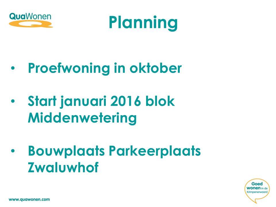 Planning Proefwoning in oktober Start januari 2016 blok Middenwetering Bouwplaats Parkeerplaats Zwaluwhof