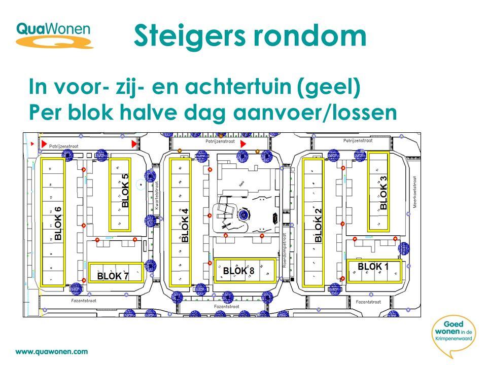 Steigers rondom In voor- zij- en achtertuin (geel) Per blok halve dag aanvoer/lossen